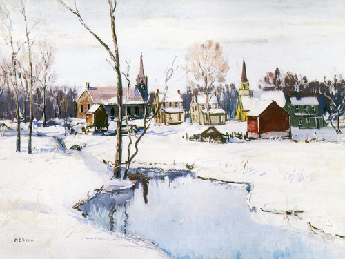 Art Prints of Village in Winter by Walter Baum