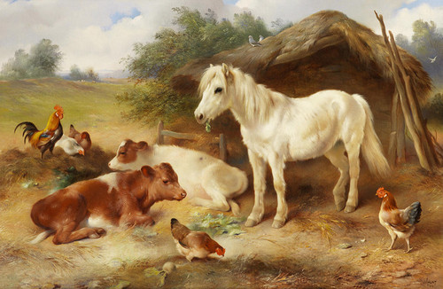 Art Prints of A Corner of the Farmyard by Walter Hunt