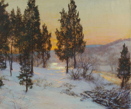 Art Prints of Winter Landscape at Sunset by Walter Launt Palmer