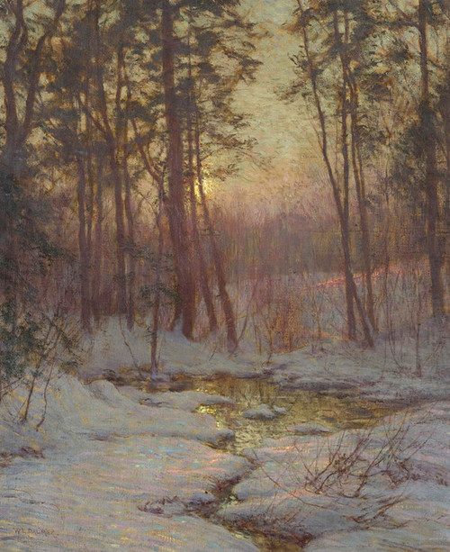 Art Prints of Winter Stream at Sunset by Walter Launt Palmer