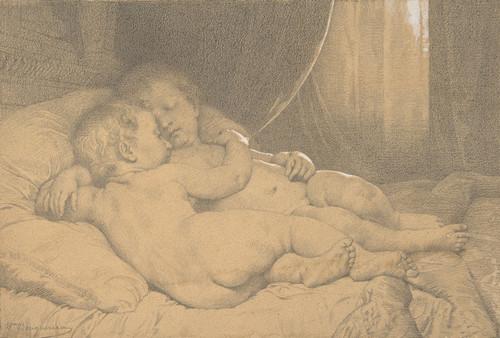 Art Prints of Two Children Sleeping by William Bouguereau