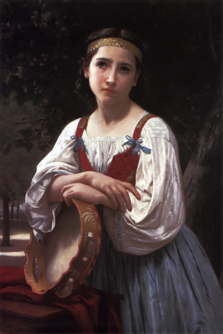 Art Prints of Gypsy Girl with a Basque Drum by William Bouguereau
