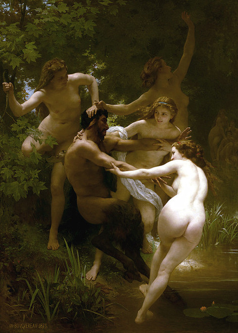 Art Prints of Nymphs and Satyr by William Bouguereau