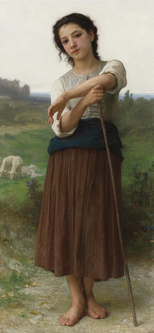 Art Prints of Young Standing Bergere or Shepherdess by William Bouguereau