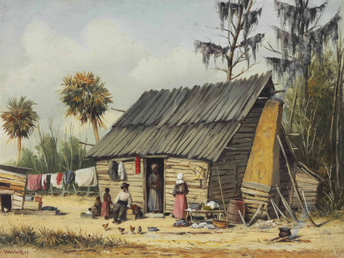 Art Prints of A Cabin Scene with Washing on the Fence by William Aiken Walker