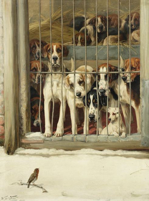 Art Prints of Hounds in a Kennel by William Henry Hamilton Trood