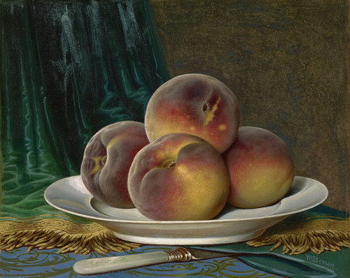 Art Prints of Peaches on a White Plate by William Mason Brown