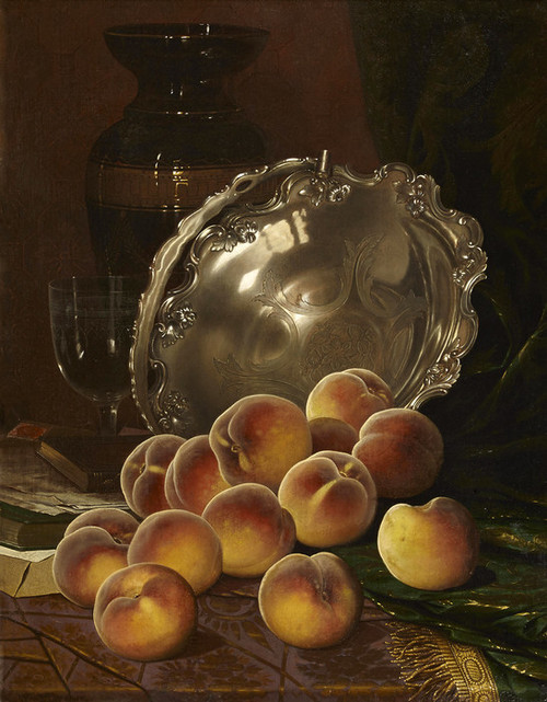 Art Prints of Still Life with Peaches and Silver Platter by William Mason Brown