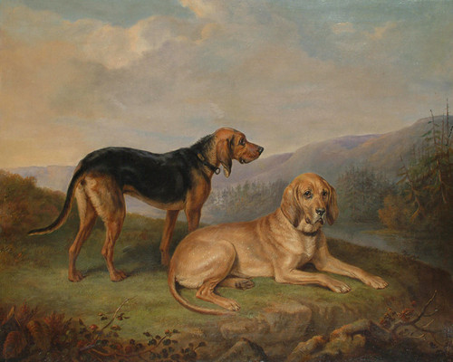 Art Prints of Bloodhounds in a Landscape by William Webb