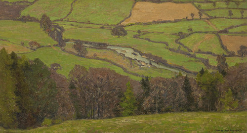 Art Prints of A Patchwork of Fields Along a Meandering River by William Wendt