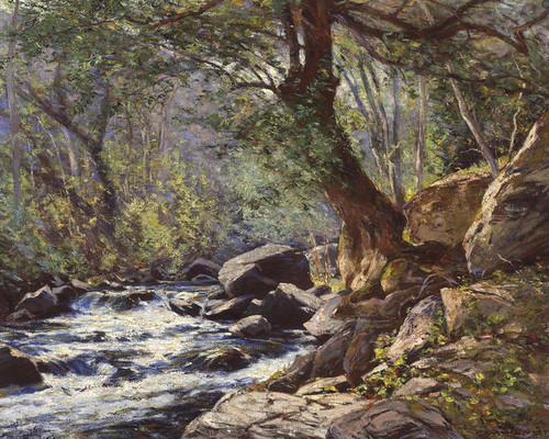 Art Prints of A Tranquil Stream in a Forest Interior by William Wendt