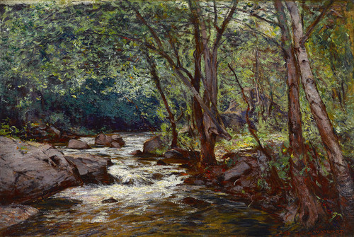 Art Prints of Riverbank in a Forest by William Wendt