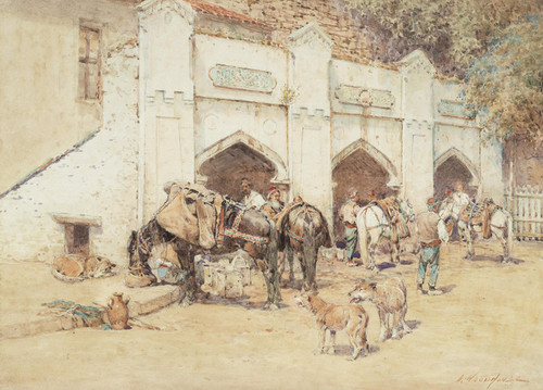 Art Prints of Resting the Horses by William Woodhouse