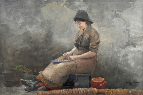 Art Prints of A fishergirl Baiting Lines by Winslow Homer