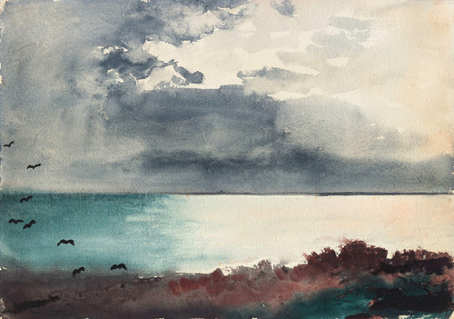 Art Prints of Breaking storm, coast of Maine by Winslow Homer