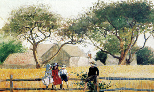 Art Prints of Children on a Fence by Winslow Homer