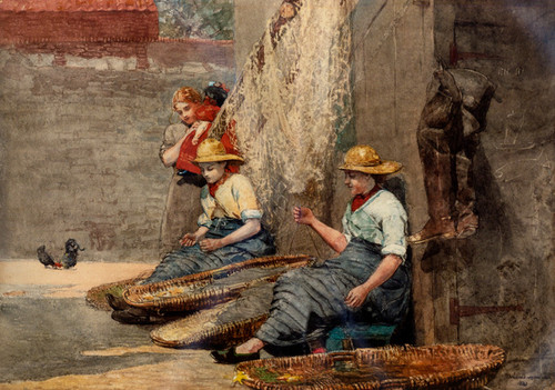 Art Prints of Fishergirls Coiling Tackle by Winslow Homer