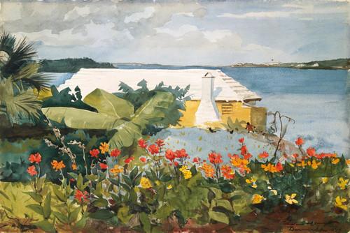 Art Prints of Flower Garden and Bungalow Bermuda by Winslow Homer