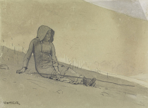 Art Prints of Girl Seated on a Hillside by Winslow Homer