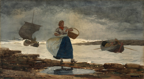 Art Prints of Inside the Bar, Cullercoats by Winslow Homer