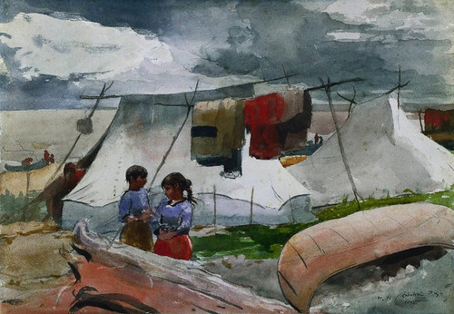 Art Prints of Indian Camp Roberval, Quebec, Canada by Winslow Homer