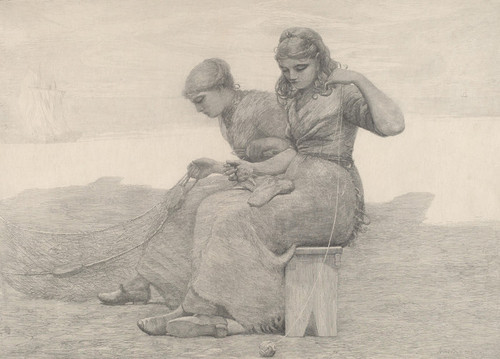 Art Prints of Mending the Nets by Winslow Homer