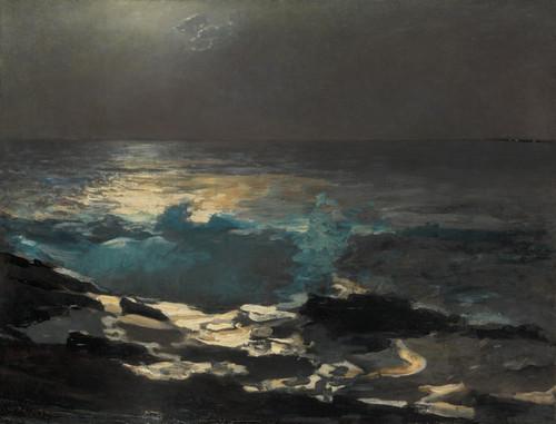 Art Prints of Moonlight, Wood Island Light by Winslow Homer