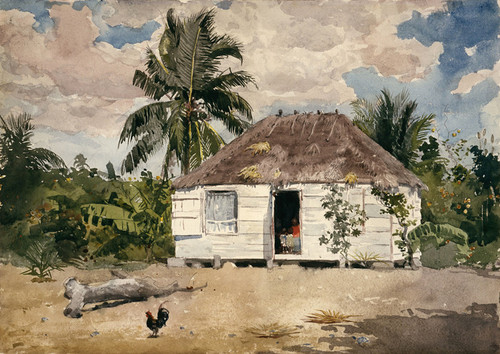 Art Prints of Native Huts, Nassau by Winslow Homer