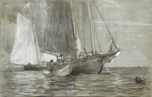 Art Prints of Schooner at Anchor by Winslow Homer