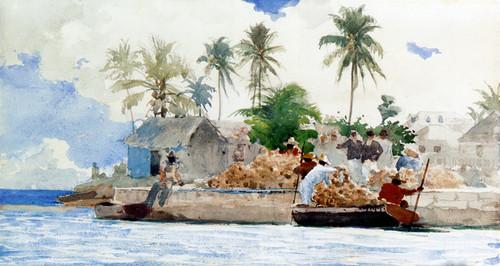 Art Prints of Sponge Fishermen, Bahamas by Winslow Homer