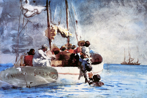 Art Prints of Sponge Fishing, Bahamas by Winslow Homer