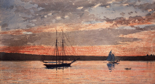 Art Prints of Sunset at Gloucester by Winslow Homer
