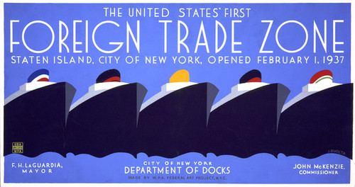 Art Prints of The United States First Foreign Trade Zone (399152), WPA Poster