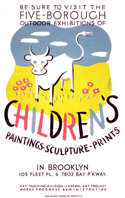 Art Prints of Outdoor Exhibitions of Children's Art in Brooklyn (399144), WPA Poster