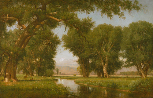 Art Prints of On the Cache La Poudre River, Colorado by Worthington Whittredge