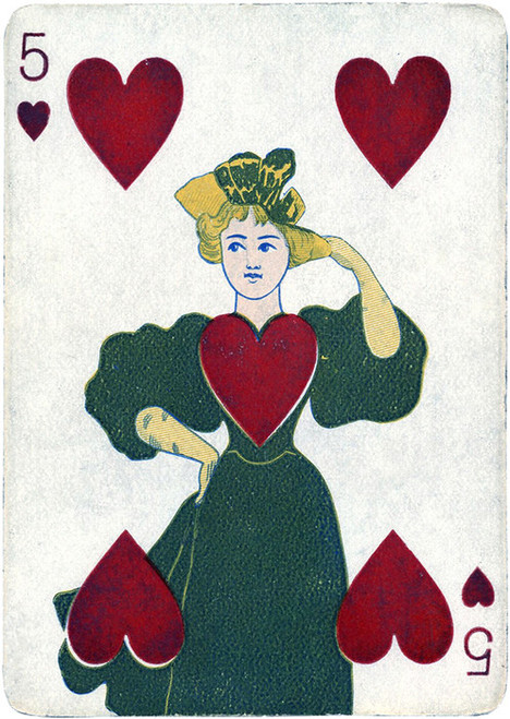 Art Prints of Playing Card, 5 of Hearts, Vintage Game Pieces & Playing Cards