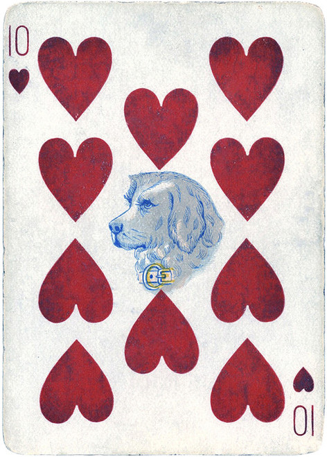Art Prints of Playing Card, 10 of Hearts, Vintage Game Pieces & Playing Cards