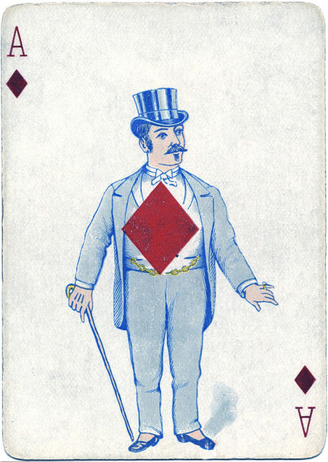 Art Prints of Playing Card, Ace of Diamonds, Vintage Game Pieces & Playing Cards