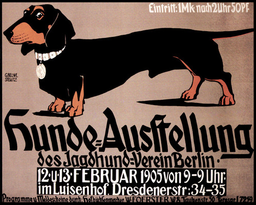 Art Prints of Hunde Ausstellung Dachshund (b194) by an Unknown Artist