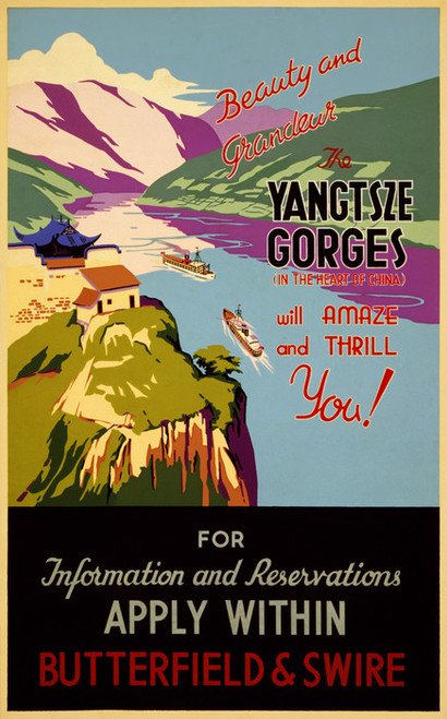 Art Prints of Beauty and Grandeur, the Yangtze Gorges Travel Poster, Travel Posters