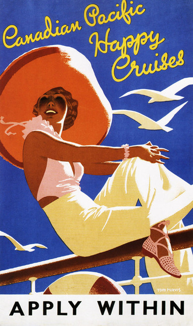 Art Prints of Canadian Happy Cruises, Vintage Travel Poster, Travel Posters