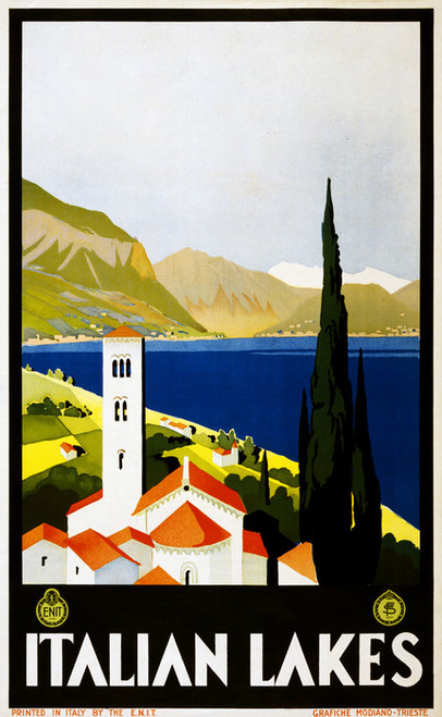 Art Prints of Italian Lakes Travel Poster, Travel Posters
