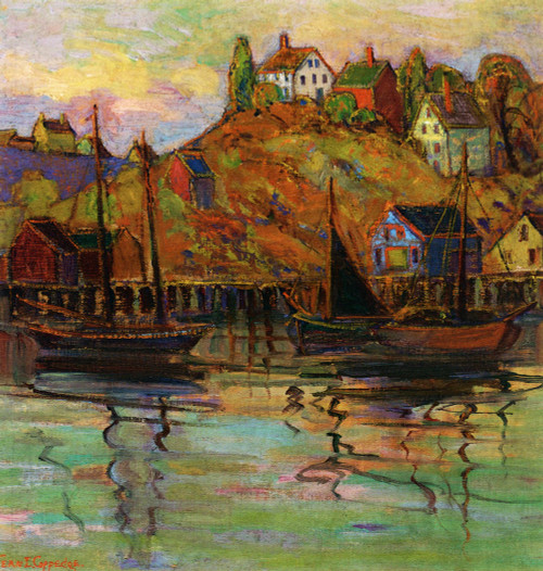 Art Prints of Harbor by a Hillside by Fern Coppedge