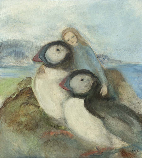 Fine Art Prints of Margaret and the Puffins Painting by Jane Morton Norton