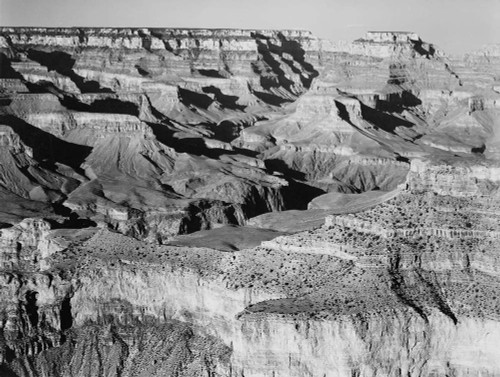Art prints of Canyon with Ravine Winding through Center, High Horizon, Grand Canyon National Park, Arizona by Ansel Adams