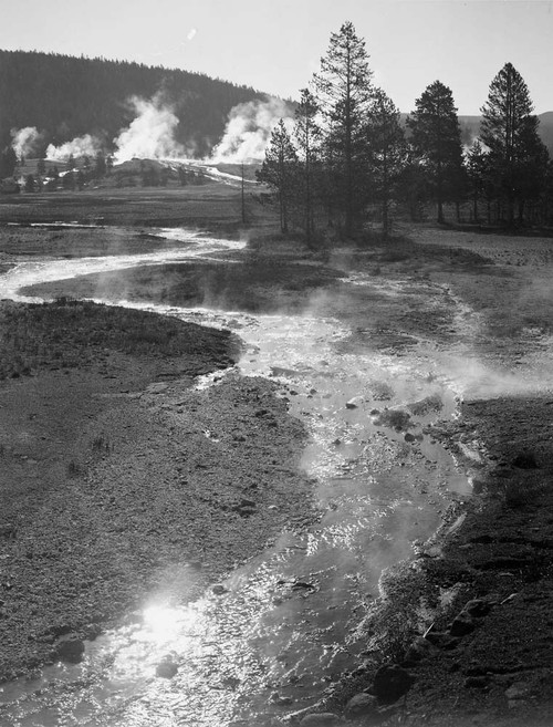Art prints of Central Geyser Basin, Yellowstone National Park, Wyoming by Ansel Adams