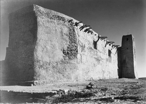 Art prints of Church, Acoma Pueblo, Side Wall and Tower, New Mexico by Ansel Adams