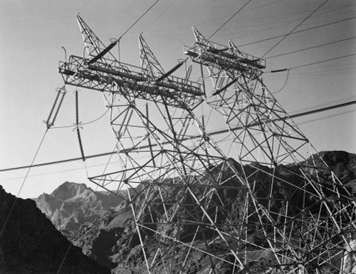 Art prints of Close-Up Photograph of Hoover Dam (aka Boulder Dam) Transmission Lines by Ansel Adams