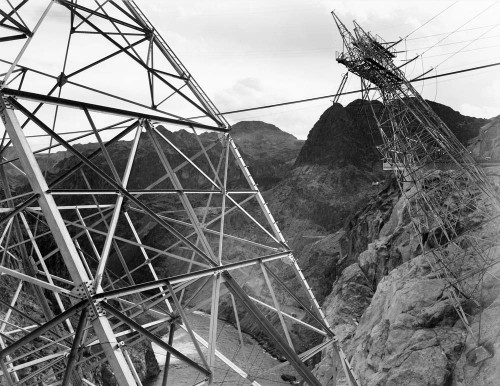Art prints of Close-Up Photograph of Hoover Dam (aka Boulder Dam) Transmission Lines on Side of Cliff by Ansel Adams