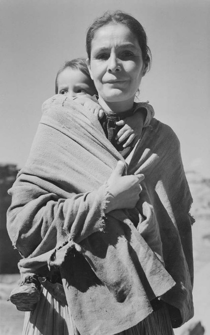 Art prints of Diné Woman and Child, Canyon de Chelly, Arizona by Ansel Adams